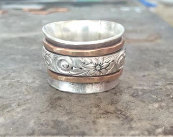 Sterling Silver Spinner Fidget Ring