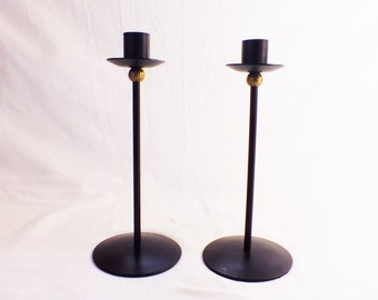 Pair Of Black mid century Iron and Brass Candlesticks Black retro Candle Holders Minimal Black metal candlesticks 1960s candlesticks