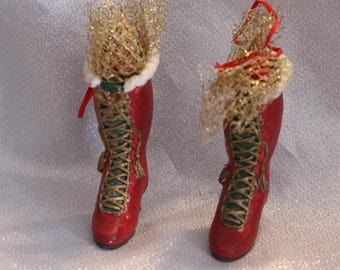 Vintage Collectible Lace Up Boot Shoe Ornaments with Ribbon and Gold Mesh, Christmas Tree Decoration