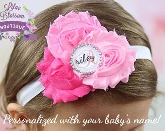 Personalized Pink Baby Headband, Personalized Baby Girl Gift, Infant Bow, Newborn Headband, Monogrammed Baby Girl Headband, Baby Shower Gift