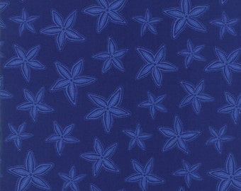 Tide Pool Dark Blue Starfish Fabric - Moda -by Kate Nelligan - by the half yard - 100% Cotton