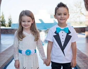 Ringbearer Shirt, Ring bearer outfit, Boys Photo Prop, Wedding outfit, Boys Tuxedo T- Shirt, ring bearer tuxedo, flower girl