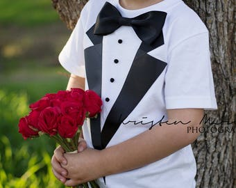 Ringbearer Shirt, Ring bearer outfit, Boys Photo Prop, Wedding outfit, Boys Tuxedo T- Shirt, ring bearer suit, rehearsal dinner,flower girl