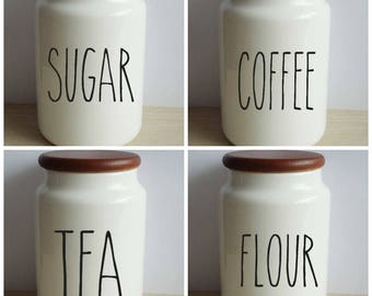Rae Dunn Inspired Canister Decal Set of 4