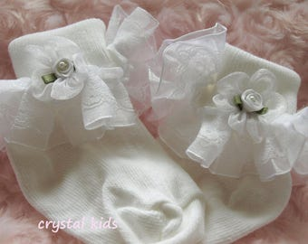 Unique Baby Girls White Lace Organza Frilly Lacy Christening Wedding Socks 0-6 months, 6-12 months, 12-24 months