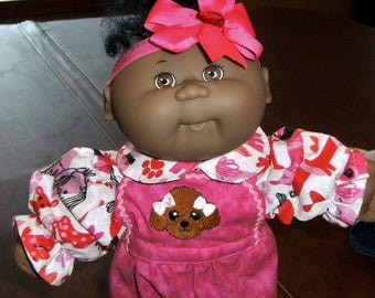 "Cabbage Patch 14"" Doll Clothes~2 pc Pink PUPPY DOG Bib Overall Pants/Top/Shirt and Headband~Preemie/Celebration Kids/More"