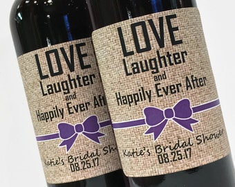 Custom Bow Color, Bridal Shower Favor or Wedding Favor, Burlap look Mini Wine or Champagne Labels, Love Laughter and Happily Ever After