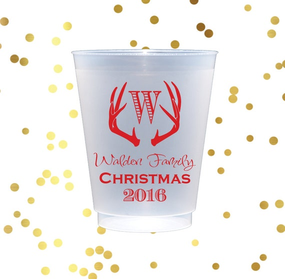 Christmas party cups, antler cups. shatterproof cups, personalized cups, holiday party cups, monogrammed frosted cups, rustic wedding favor
