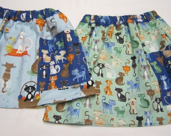 Girls Reversible Skirt in Blue and Green  Cotton Cat Fabrics Sizes  2
