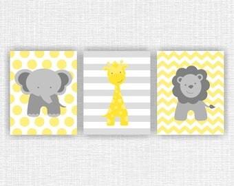 Yellow And Gray Jungle Animals, Elephant, Giraffe, Lion, Chevron, Stripes, Part 91