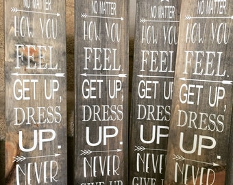 Never Give Up Inspirational Decor - Motivational - Wood Sign - Painted Wood Sign