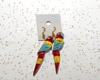 RESERVED but SIMILAR AVAILABLE > vintage parrot earrings wood wooden painted bird earrings pierced earrings drop dangle New old stock