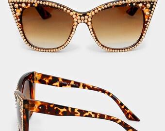 Vintage Style Retro Rhinestone Crystal Embelished Cat Eye Sun Glasses Fashion Accessory