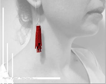 Pompom in leather and Sterling Silver 925 earrings / / tassel leather / / Sterling Silver 925 / / elegant earrings