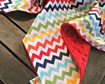 Rainbow Chevron Blanket made with cotton and minky, suitable for pram or bassinet