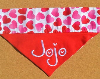 Lovely Hearts ~ Personalized/Reversible ~ Over The Collar Dog Bandana