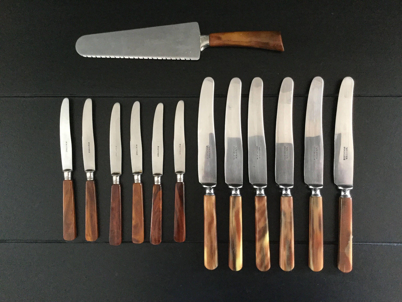 lot of retro cutlery 6 dinner knives 6 butter knives 1 cake