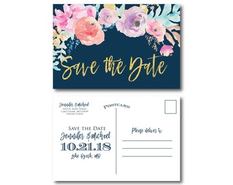 Floral Wedding Save the Date, Floral Wedding, Watercolor Floral, Watercolor Wedding, Save the Date, Wedding Save the Date Postcards #CL321