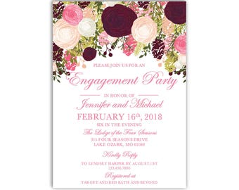 Engagement Party Invitation Template, DIY Engagement Invite, Cheap Invitation, Floral Invitation, INSTANT DOWNLOAD Microsoft Word #CL113