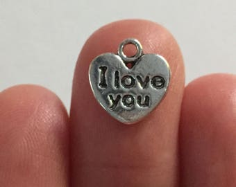 8 I Love You Charms Antique Silver 12mm x 11mm - SC3075