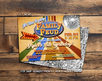 Family Feud Style Invitation (Digital File or Prints with Envelopes) (FREE Shipping) (ALL Wording can be changed)