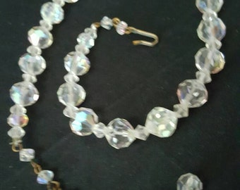 Aurora Borealis Clear Bead Necklace