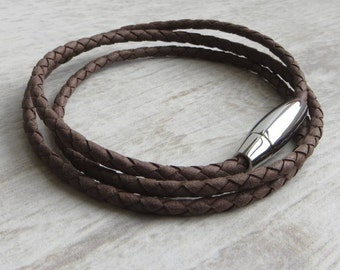 Plaited Leather Wrap Bracelet (Stanley Rope Bracelet)