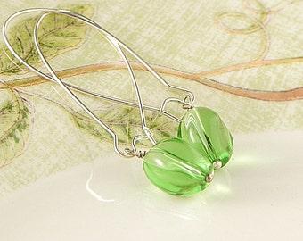 Green Glass Earrings Glass Dangly Earrings Green Earrings Bright Jewelry Handmade Earrings Holiday Jewelry Christmas Gift