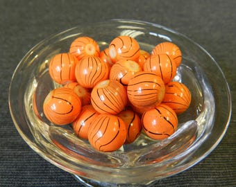 Set of 23 Painted Orange and Black Round Glass Ball Beads - Basketballs, 10mm