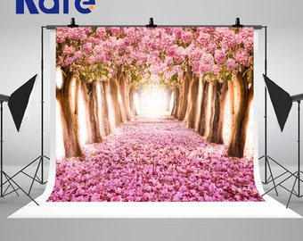 Pink Cherry Blossom Trees Photography Backdrops Road Scenery Photo Backgrounds for Romatic Wedding Studio Props