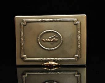 Antique original perfect silver russian 14k gold decorated cigarette case