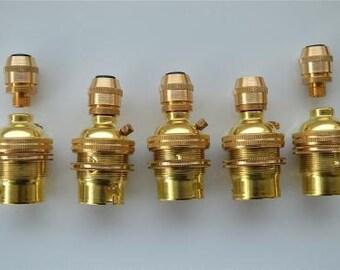 Set of 5 UK made brass B22 bayonet bulb holder 10mm SR7