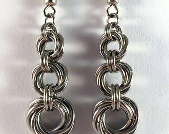 Mobius ring earrings - unusual chainmaille earrings