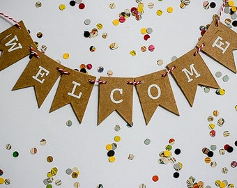 Welcome Bunting Banner, mini cardboard bunting home decor