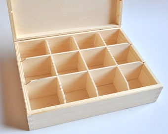 Tea Box with 12 compartments. Unfinished Wood Tea Box. Wooden Storage Box.