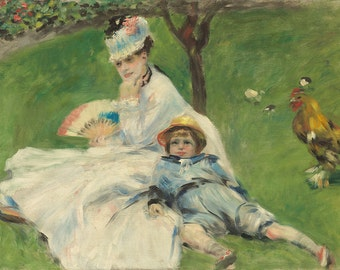 Auguste Renoir: Madame Monet and Her Son. Fine Art Print/Poster. (003960)