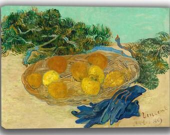 Vincent van Gogh: Still Life of Oranges and Lemons with Blue Gloves . Fine Art Canvas. (04053)