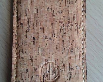 Felt and Cork Leather Sleeve for iPhone  5 5S Vegan Cell Phone Sleeve, Dark Grey Felt Sleeve, Mobile Phone Cover Felt, Vegan Phone Cover