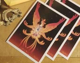 Phoenix 5x7 Fantasy Art Print by Mythka