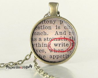 Writer Necklace - Write - Word Necklace - Author Jewelry - (B9098)