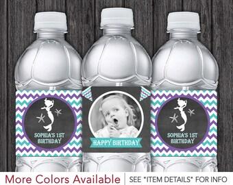 Mermaid Water Bottle Labels - Printable Mermaid Birthday Party Decorations - DIY Digital File