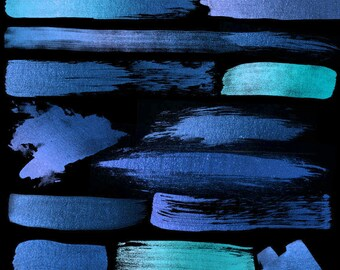 Blue Paint Strokes - High Resolution PNG Watercolor Paint Strokes and Splashes for Scrapbooking, Invitations, Baby Shower Embellishments