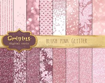 Blush Pink Glitter Digital Paper, pink rose gold glitter textures, pink bokeh sparkle Valentine glam patterns, dusty rose backgrounds