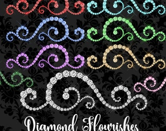 Diamond Flourishes Clipart, ornament clip art, glam glitter sparkle, princess wedding, png graphics digital instant download commercial use