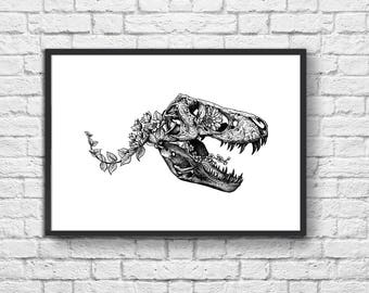 Art-Poster 50 x 70 cm - Tyrannosaur Skullhead