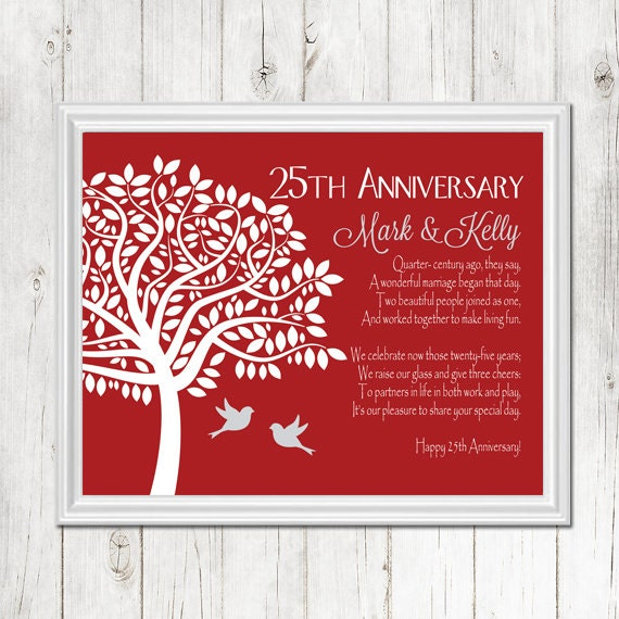25th Wedding Anniversary Gift For Parents: 25th ANNIVERSARY Gift Print Personalized Gift For