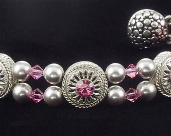Pink Rose Crystal Bracelet with Swarovski Crystals and Magnetic Clasp