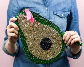Super Sparkly Avocado Zip Pouch Clutch Bag