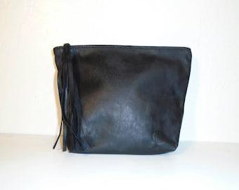 Soft Black Leather Zipper Clutch with zipper tassel, fold over gusset clutch