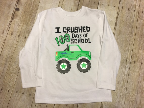 100 Days Of School Monster Truck Vinyl Htv Boys School Shirt